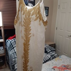 White and gold beaded dress 4xl